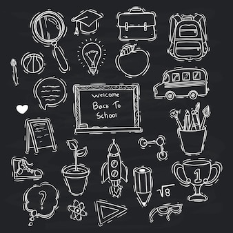 Black and white doodle style of school icons collection on chalkboard