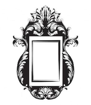 Black and white. doodle vintage frame line art