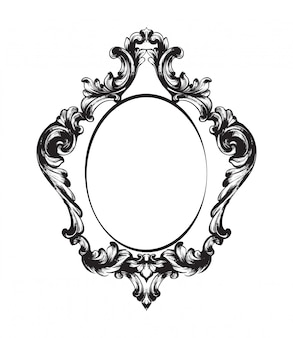 Black and white. doodle  vintage frame line art
