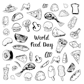Black and white doodle world food day elements