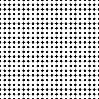 Black and white dot seamless pattern on grid vector illustration monochrome texture