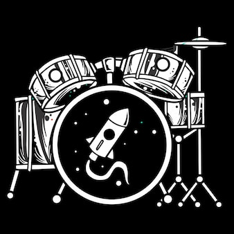 Black and white drum set,