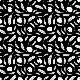Black and white easter eggs seamless pattern