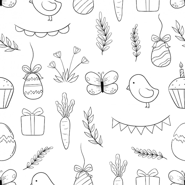 Black and white easter icons in seamless pattern with hand drawn or doodle style