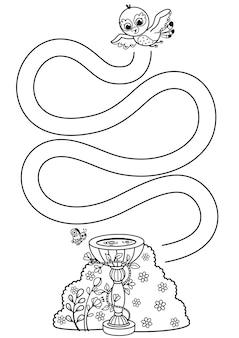 Black and white educational maze game for preschool children vector illustration