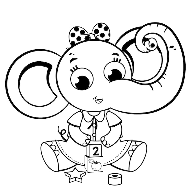 Black and white elephant girl playing with toys vector illustration
