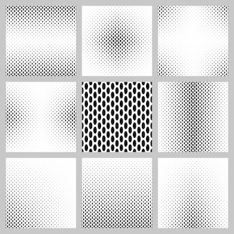 Black and white ellipse pattern background set