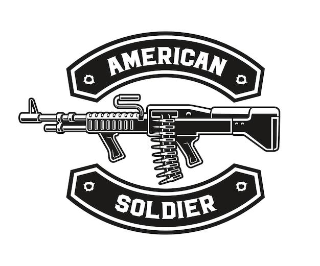 A black and white emblem of a machine gun