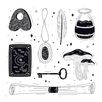 Black and white esoteric elements pack
