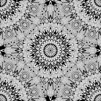 Black and white ethnic mandala pattern