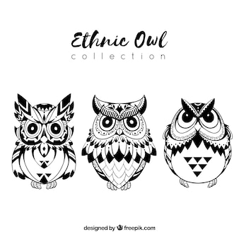 Black and white ethnic owl collection