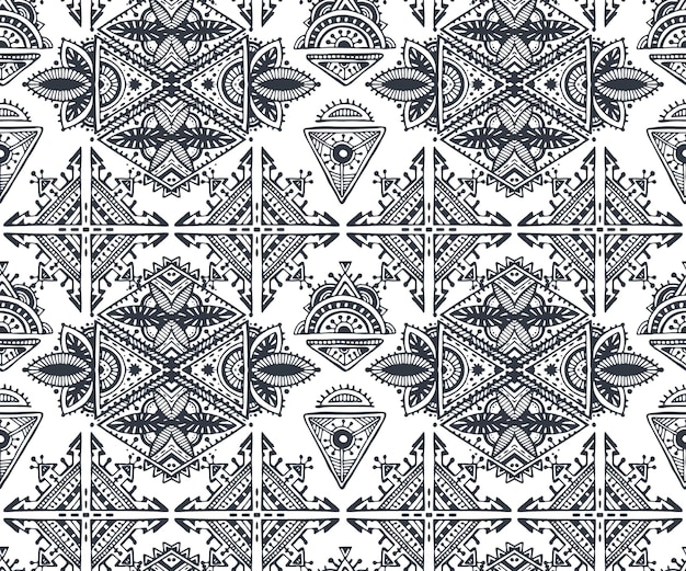 Black and white ethnic tribal seamless pattern with hand drawn elements.