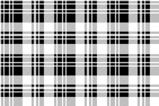 Black and white fabric texture check seamless pattern