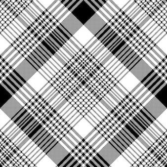 Black and white fabric texture check tartan seamless pattern
