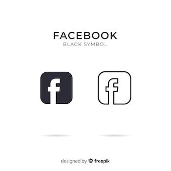 Black and white facebook symbol