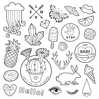 Black and white fashion patch badge elements in cartoon comic style.