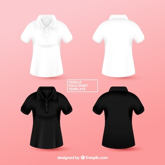 Black and white female polo shirt templante