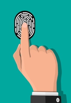Black and white fingerprint with hand. identification and authorization system. fingerprint for id, passport, applications. simple finger print icon. vector illustration in flat style