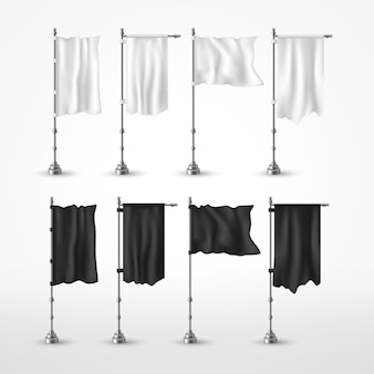 Black and white flags on flagpole flying in the wind isolated