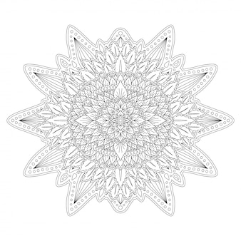 Black and white floral art for coloring book page