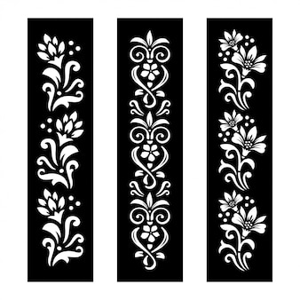 Black and white floral banners