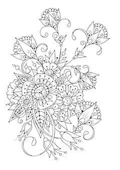 黒白の花のイラスト