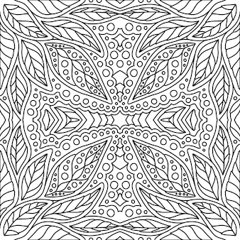 Black and white floral pattern for coloring book