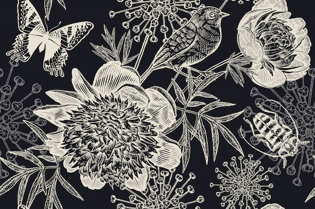 Black and white floral seamless background. peonies, bird, beetle and butterflies. vintage.