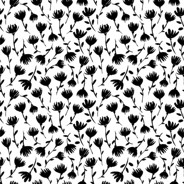 Black and white floral  seamless pattern. delicate wildflowers silhouettes hand drawn illustrations.