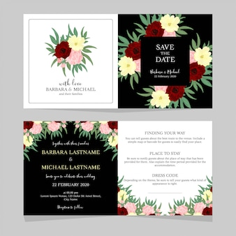 Black and white floral wedding invitation template