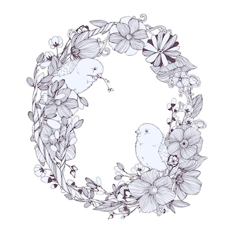 Black and white floral wreath with two birds