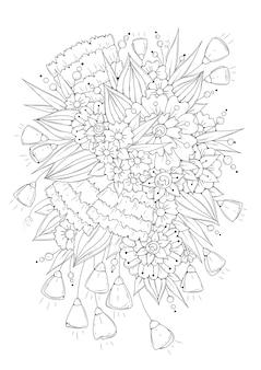 白黒の花とつぼみ。ぬりえ。