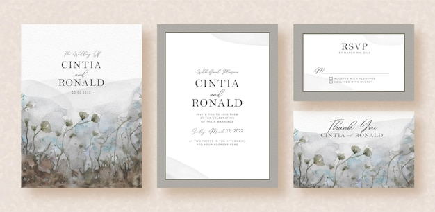 Black and white flowers of garden view watercolor  of wedding invitation card