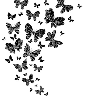 Black and white flying butterflies with outspread wings set