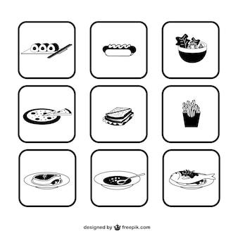 In bianco e nero di icone di cibo