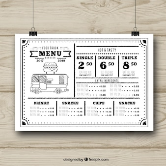 Black and white food truck menu template