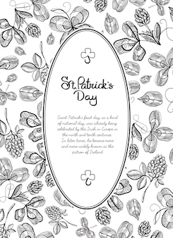 Black and white frame doodle greeting card with many hop branches, blossom and greeting with traditional st. patricks day vector illustration