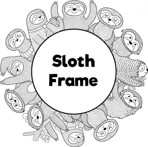 Black and white frame template with funny sloths