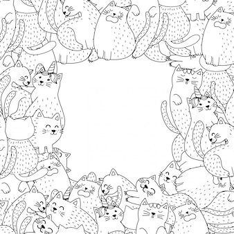 Black and white frame with cute cats. background for coloring page style. vector illustration