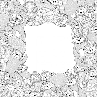Black and white frame with funny sloths. coloring page style