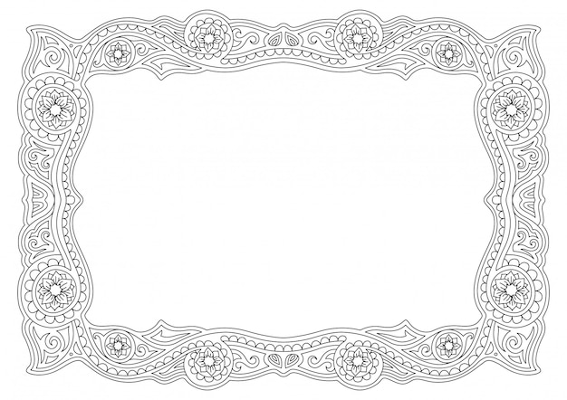 Black and white frame with linear floral pattern