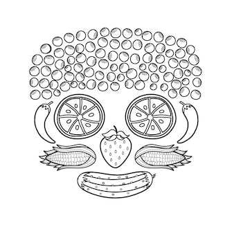 Black and white fruit and vegetable face funny healthy coloring page with oranges instead of eyes