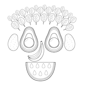 Black and white funny smiling fruit and vegetable face funny food coloring page