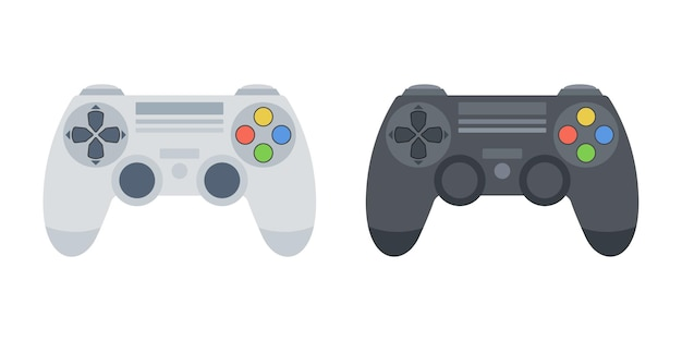 Black and white game console joystick set. vector.