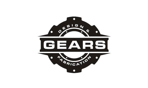 Black and white gear logo