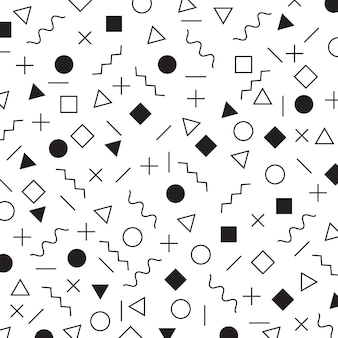Black and white geometric elements memphis style pattern