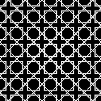 Black and white geometric seamless pattern in arabic style Premium Vector