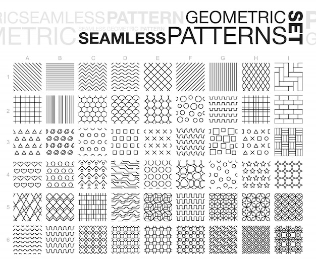 Black and white geometric seamless patterns. thin line monochrome tiling textures set.  illustration.