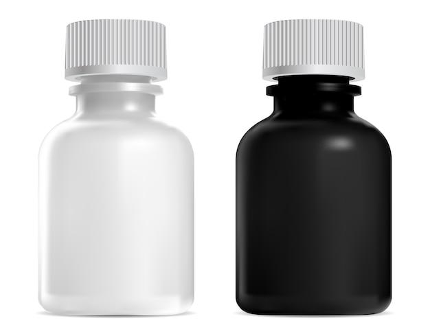 검정, 흰색 유리 병, 나사 뚜껑. 의료 시럽 병 모형. farmaceutical 약물에 대한 현실적인 크리스탈 용기. 동종 요법 팅크 바이알, 서스펜션 약물 용량