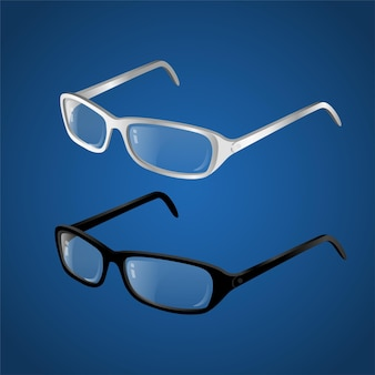 Black and white glasses - modern vector realistic isolated object illustration on gradient blue background. use this high quality clip art for presentations, banners and flyers. stylish spectacles